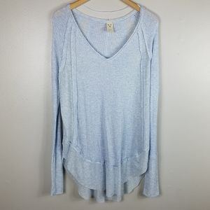 Free People We The Free Blue Waffle Knit Thermal